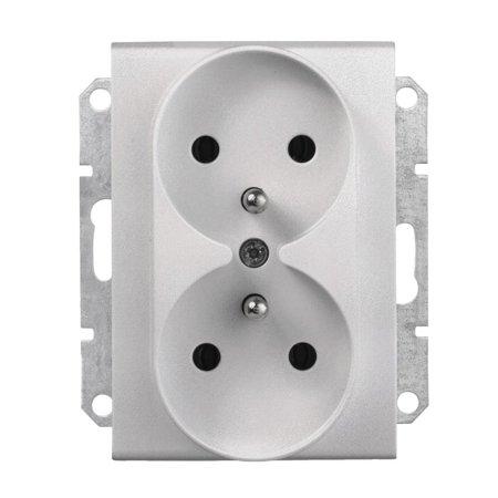 Zásuvka 2 x 2P+PE do rámečkového systému hliník Sedna SDN2800960 Schneider Electric