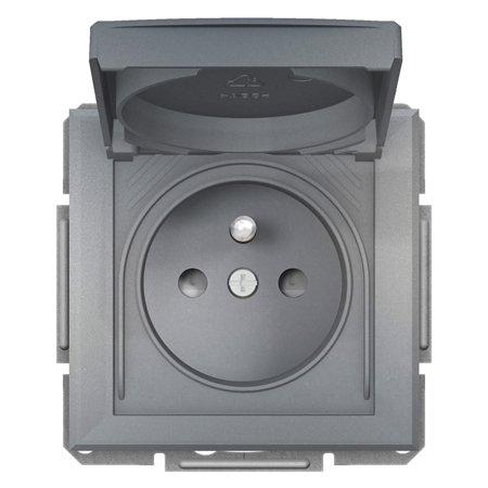 Zásuvka 2P+PE IP44 do rámečkového systému ocel Asfora Schneider Electric EPH2800662