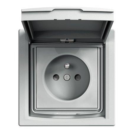 Zásuvka 2P+PE IP44 s rámečkem 1-násobná s clonami, hliník Schneider Electric Asfora EPH2800361
