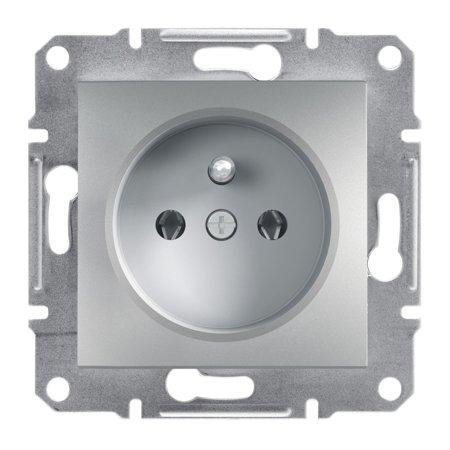 Zásuvka 2P+PE bez rámečku, hliník Schneider Electric Asfora EPH2800161