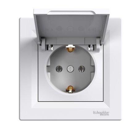 Zásuvka 2p+PE s krytem, bílá Schneider Electric Asfora EPH3100121
