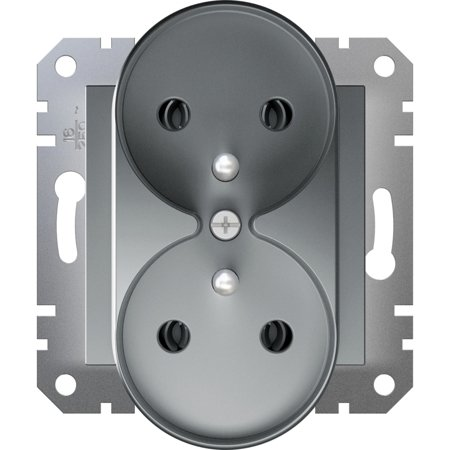 Zásuvka 2x2P+PE do rámečkového systému, ocel Schneider Electric Asfora EPH9810262