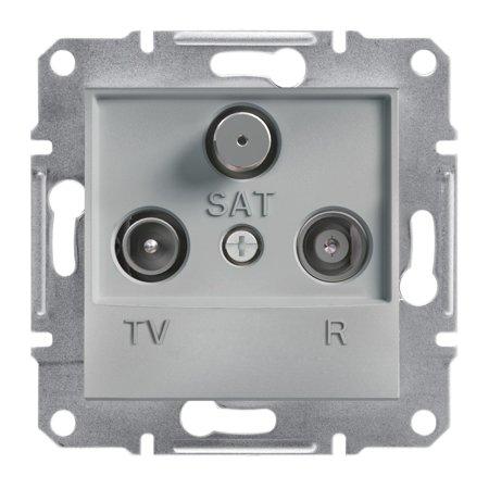 Zásuvka R-TV-SAT průchozí (4dB) bez rámečku, hliník Schneider Electric Asfora EPH3500261