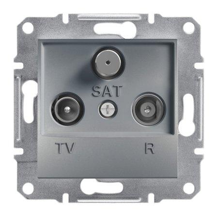 Zásuvka R-TV-SAT průchozí (4dB) bez rámečku, ocel Schneider Electric Asfora EPH3500262
