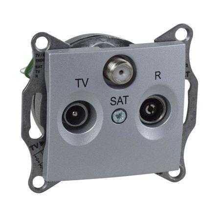 Zásuvka R/TV/SAT průchozí 4dB hliník DIY Sedna SDN3501660 Schneider Electric