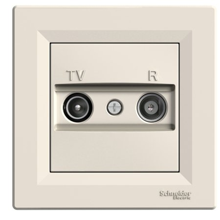 Zásuvka RTV koncová s rámečkem, krémová Schneider Electric Asfora EPH3300123
