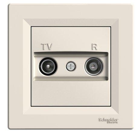 Zásuvka RTV průchozí (8dB) s rámečkem, krémová Schneider Electric Asfora EPH3300323