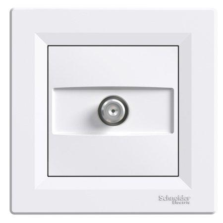 Zásuvka SAT průchozí s rámečkem, bílá Schneider Electric Asfora EPH3700221