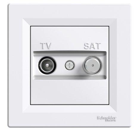Zásuvka TV-SAT průchozí (8dB) s rámečkem, bílá Schneider Electric Asfora EPH3400321