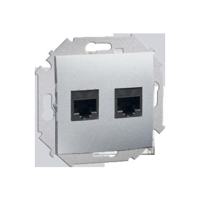 Zásuvka počítačová RJ45 dvojitá kat. 6 (modul), hliník (kov) Kontakt Simon 1591562-026